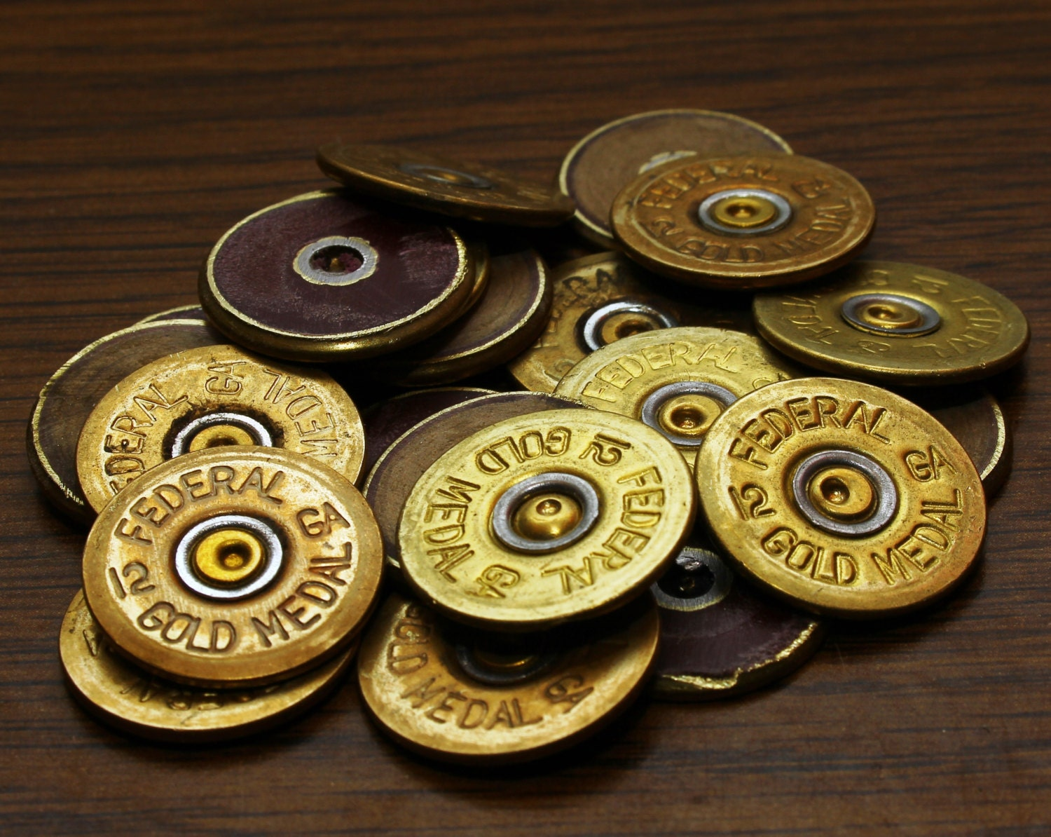 Thin Cut POLISHED shotgun shell headstamps heads lot of 12