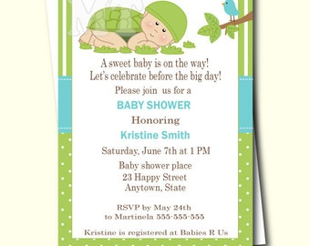 Green Turtle Baby Shower Invitation- Turtle Baby Shower Invites- Turtle Theme Baby Shower-  Printable Turtle Invitation- Baby Boy Shower
