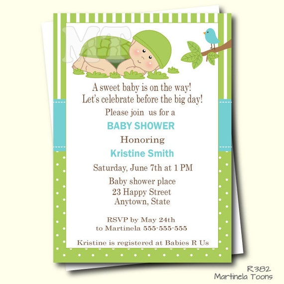 green turtle baby shower invitation- turtle baby shower invites, Baby shower invitations