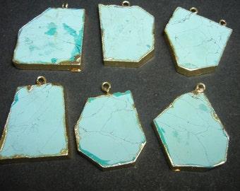 Turquoise Raw Gemstone Slice Pendant