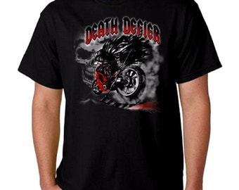 Death Defier Cool Motorcycle Biker T-Shirt All Sizes & Colors