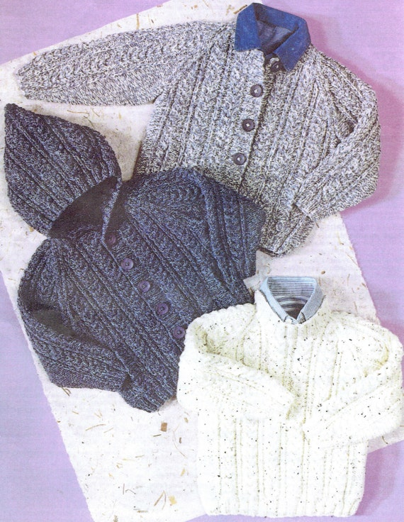 Aran Knitting Pattern With Hood : Items similar to Vintage Pattern Baby sweater cardigan ...