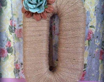 Wreath Initial Burlap Decor Burlap Letters Burlap Wreath Shabby Chic Home Decor