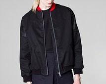 black denim bomber / drill bomber jacket / oversized bomber jacket / ladies bomber jacket / organic cotton jacket