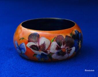 """unique wooden bracelet / hand painted bracelet  """"pansy flowers"""" - in orange, yellow, blue, purple colors - OOAK"""