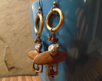 Long exotic wood, pyrite and brass earrings