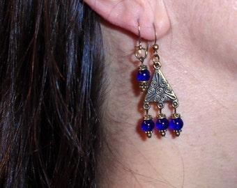 Cobalt blue earrings with antique brass
