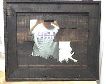 Louisiana Reclaimed Wood Wall Art Mirror