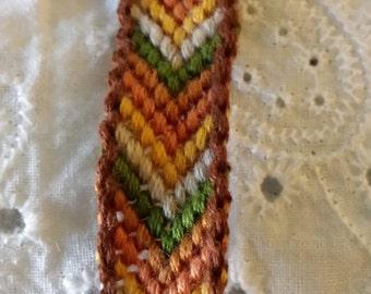 Natural colors embroidery floss  friendship bracelet bordered full chevron