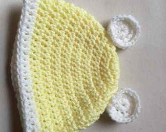 Yellow baby hat, Baby hat with ears, Beanie with ears, Pale yellow baby hat