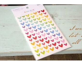 Cute Korean HEART Diary Stickers / Scrapbooking Stickers/Kawaii Heart Sticker/6 sheets