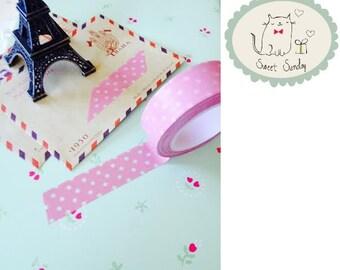 Pink Paper White Polka Dot Japanese WASHI TAPE Craft Masking Tape, 15mm x 10m