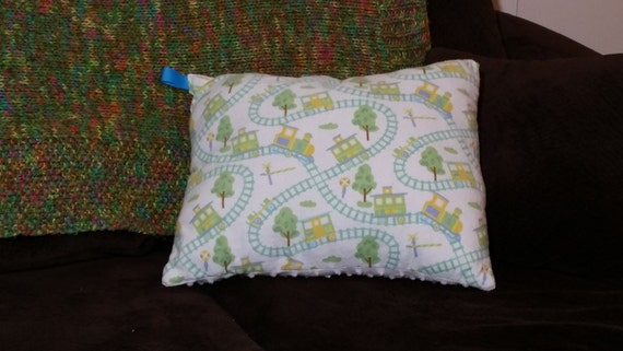 Train themed pillow with white minky dot by simplicityapplied for Train themed fabric