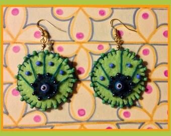 Peacock eye green-earrings
