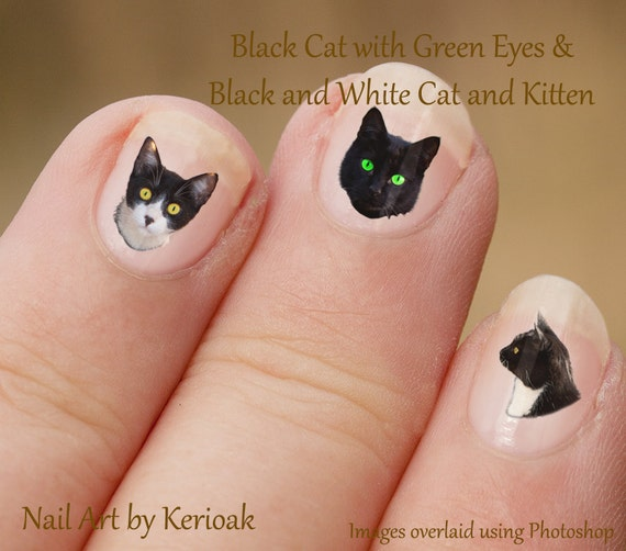 Cat Nail Art Stickers, Black And White Kitten Portrait