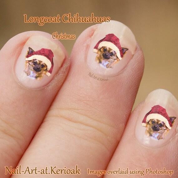 Christmas Finger Nail Art: Christmas Chihuahua Nail Art, Dog Nail Art Stickers