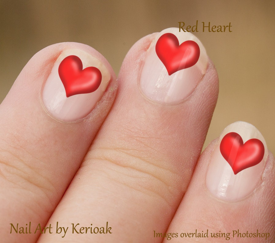Heart Nail Art: Red Heart Nail Art Heart Nail Stickers Heart Fingernail
