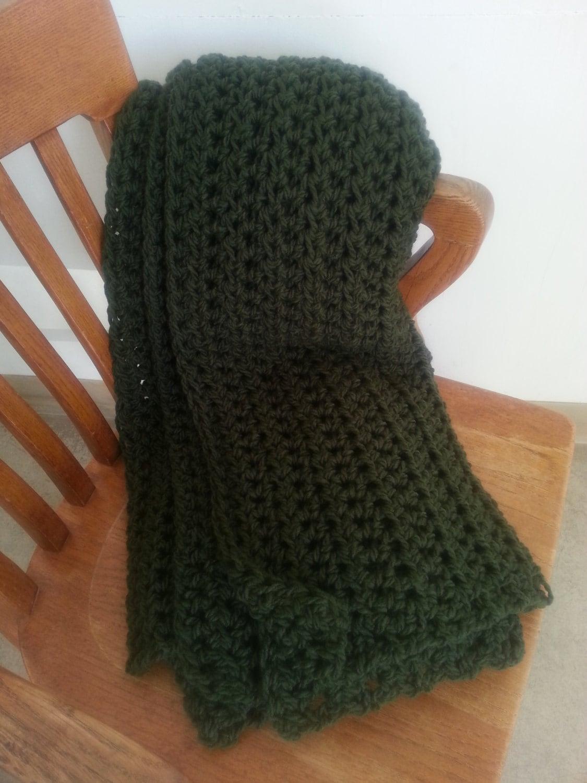 Dark Green Crochet Throw Blanket Afghan Knit Blanket