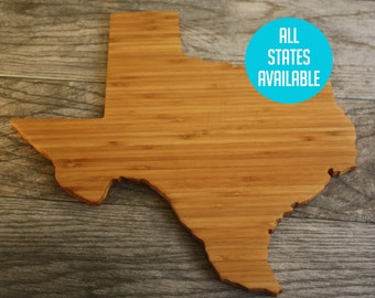 Home Decor, Kitchen Decor, Wedding Present, State Shaped, Wedding Gift, Personalized Wedding Gift, Corporate Present, Texas Cutting Board