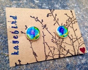 Watercolor Sky 12mm post earrings