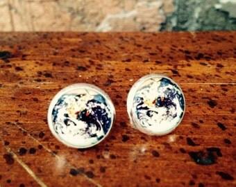 Planet Earth post earrings
