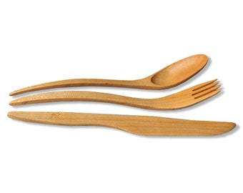1 SET wooden utensils Maple Wood cutlery, utensils of 8'' (21cm) wooden fork, wooden spoons, wooden knive