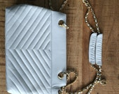 Vintage White Quilted Shoulder Bag with Chain Straps
