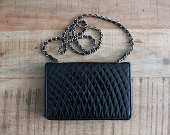 Vintage Black Patent Quilted Purse With Gold Hardware