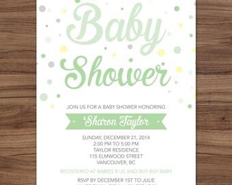 Green Confetti Baby Shower Invitation, Gender Neutral Baby Shower Invitation, Baby Sprinkle Invite, Confetti Baby Shower