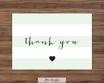 Baby Shower Thank You Card Mint Stripes  / Green Baby Shower / Printable Thank You Card / Printable Digital / INSTANT DOWNLOAD