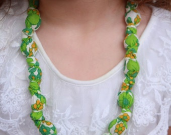 Fabric Knot Necklace beaded knotted upcycled fabric necklace