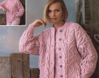 womens aran cardigan and sweater knitting pattern 99p pdf