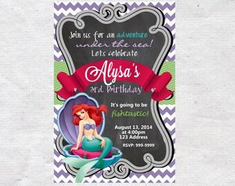 Little Mermaid Birthday Invitation Invite Chalkboard Chevron Pattern Little Mermaid invitation