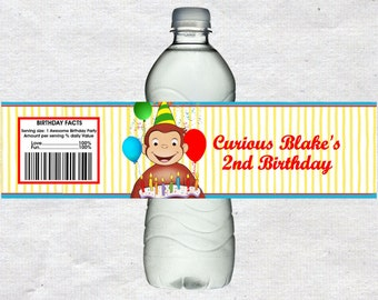 Curious George Water Bottle Labels Curious George Water labels