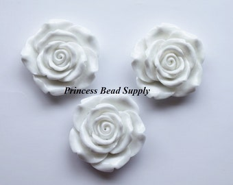 White Resin Rose Flower Chunky Beads, 42mm Rose Bead/Pendant, Bubble Gum Beads,  Gumball Beads, Acrylic Beads
