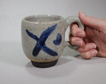 X Marks the Spot, Stoneware Mug with Underglaze Cobalt Design