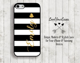 iPhone 6s, iPhone6s Plus, iPhone 6 Case, iPhone 6 Plus Case, iPhone 5 Case, Monogram Phone Case, Black and White Stripes, Gold Heart 600