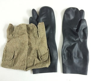 vintage black rubber gloves 3 fingers military mittens black gloves chemical protection gloves mittens military gloves soviet gloves