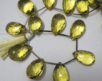 Gorgeous Huge Size Green Gold Quartz Faceted Pear Briolette Gemstone Beads 12X15-15X22mm AAA 8 Inch