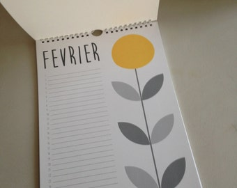 grey and yellow birthday calendar
