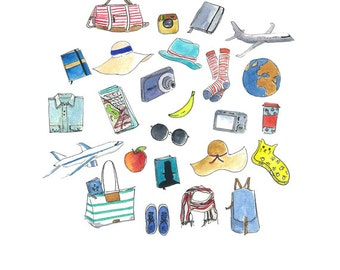 Travel Kit Illustration | Travel must have items | Watercolor illustration | Hand drawn | Digital download