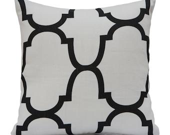 Off White Pillow, Throw Pillow Cover, Decorative Pillow Cover, Cushion Cover, Pillowcase, Accent Pillow, Toss Pillow, Linen, Black Pattern