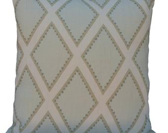 Off White and Light Blue Pillow, Throw Pillow Cover, Decorative Pillow Cover, Cushion Cover, Pillowcase, Accent Pillow, Toss Pillow, Linen