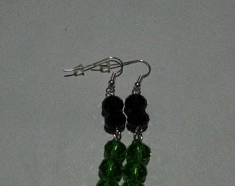 Black and dark green earrings