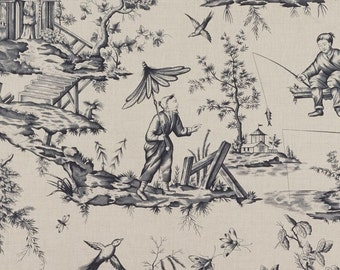 SCHUMACHER CHINOISERIE ASIAN Cathay Cotton Linen Toile Linen Fabric 10 yards Charcoal