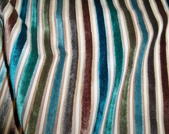 KOPLAVITCH BATISTE Cut VELVET Stripes Fabric 10 Yards Lagoon Blue Teal Brown Multi