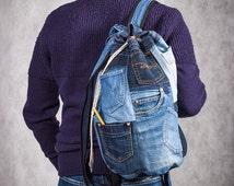 """Denim backpack  """"Pockets"""""""