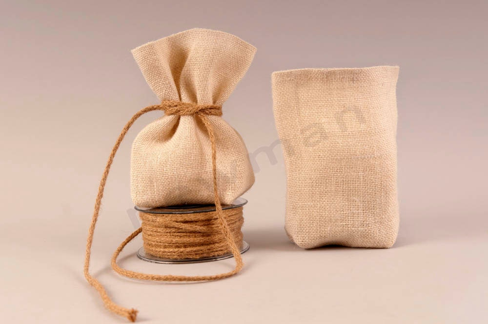 Burlap Wedding Favor Bags Wholesale : Set of 50 Ivory Burlap favor bags by TwoBeWed on Etsy
