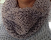 Basket Weave Scarf, Woven, Loop Scarf, Infinity Scarf, Cowl, Herringbone, Knit, Gift, for her, Women's, Grey, Pink, Free Shipping!