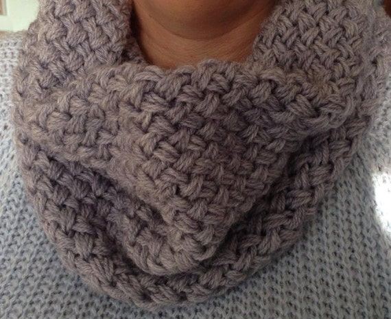 Knitting Basket Weave Stitch Scarf : Basket Weave Scarf Woven Loop Scarf Infinity by TabbyCatMakes